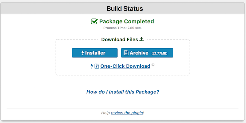 Wordpress Duplicator package complete